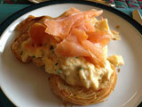 Scrambled eggs and smoked salmon croissants