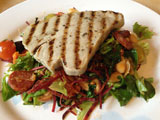 Tuna Steak with a Spicy Chorizo and Cannellini Bean salad.